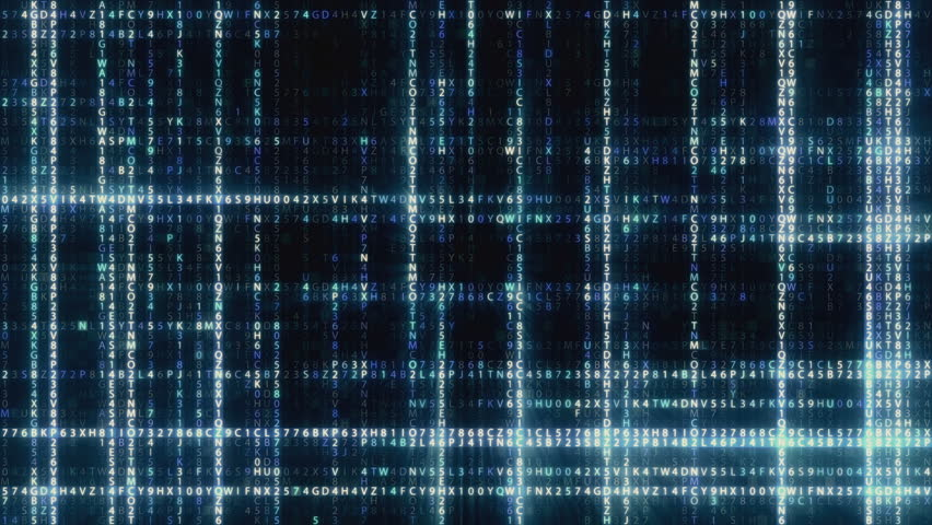 Abstract blue futuristic background of information technology hexadecimal digital data code seamless loop animation