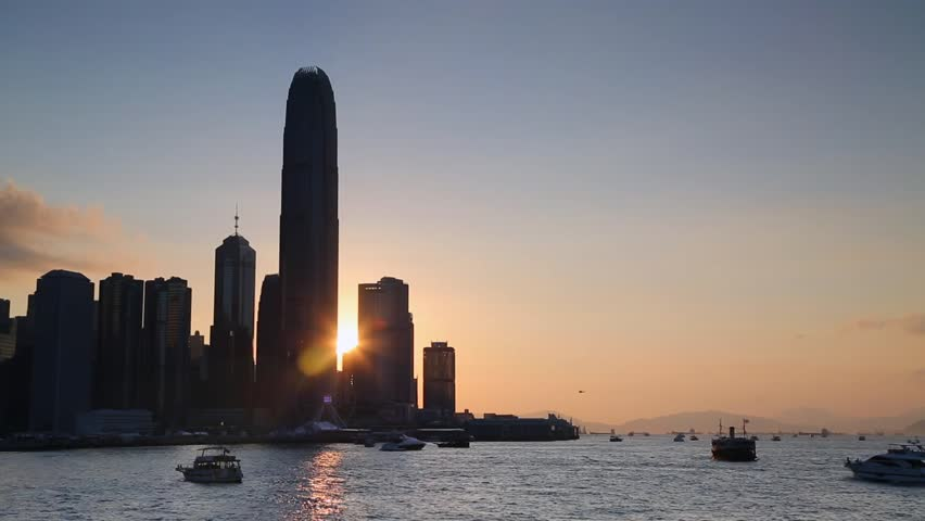 View of Hong Kong Island skyline and International Finance Centre (IFC) at sunset, Hong Kong, China