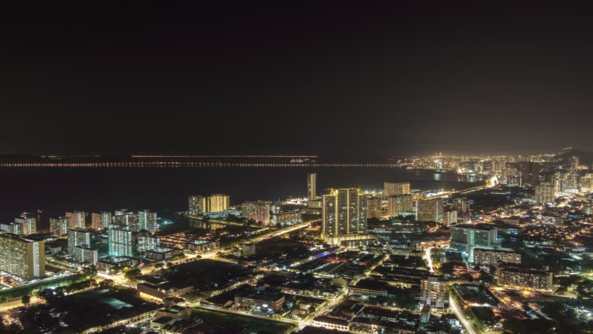 Night panorama of the city George Town, Malaysia. 4k time-lapse | Shutterstock HD Video #1014774302