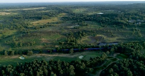 Aerial view of Chobham Common in Surrey. This is one of the finest remaining examples of lowland heath in the world, it is located 20 miles south west of London and just north of Woking Town, Surrey