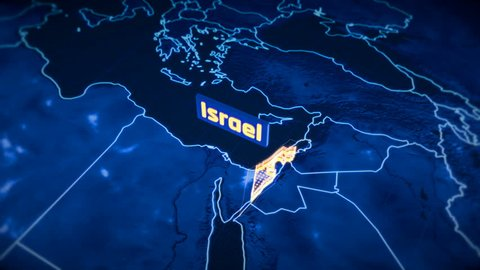 Israel country border 3D visualization, modern map outline, travel