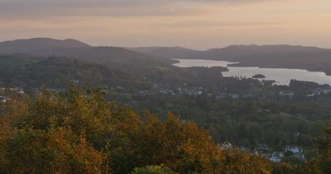 Sunset over Lake Windermere, Grasser, Cumbria, England, United Kingdom, Europe