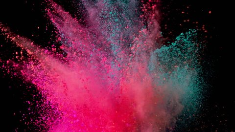 Super slow motion of colored powder explosion isolated on black background. Filmed on high speed camera, 1000 fps.