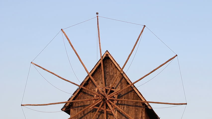 Old wooden windmill detail Nessebar Bulgaria
