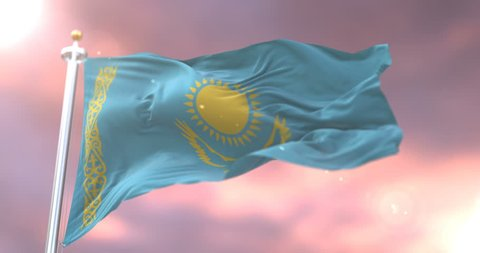 Flag of Kazakhstan waving at wind at sunset in slow, loop