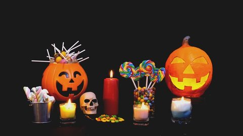 Candy for Halloween day footage background