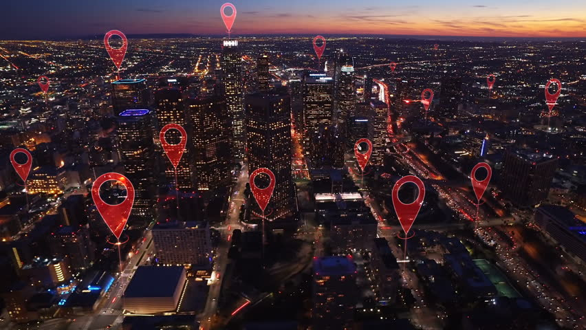Aerial smart city. Localization icons in a connected futuristic city.   Technology concept, data communication, artificial intelligence, internet of things. Los Angeles skyline. | Shutterstock HD Video #1014944242