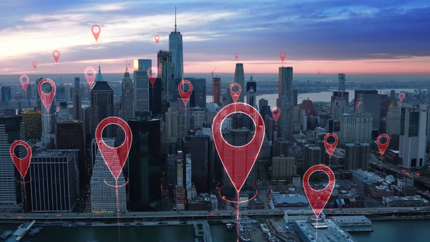 Localization icons in a connected futuristic city.  Technology concept, data communication, artificial intelligence, internet of things. Aerial smart city. New York City skyline. | Shutterstock HD Video #1014944272