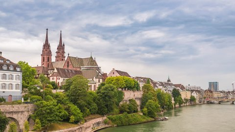 Basel city skyline timelapse and Rhine River, Basel, Switzerland 4K Time lapse