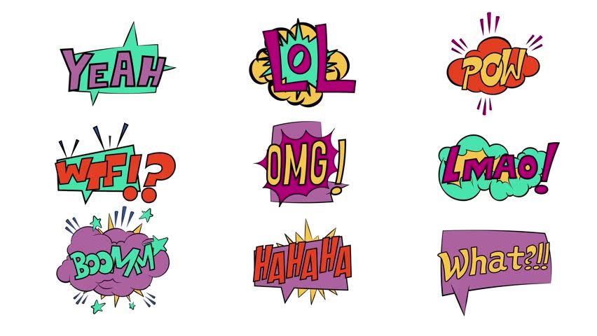 Comic book speech bubbles onomatopeia expression letters full set