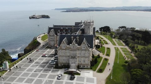 "Santander, Cantabria, Spain. La Magdalena peninsula, Royal Palace ""La Magdalena"", house, mansion, king, forest, coast, lighthouse, isle, aerial view. Spain by drone 4k."