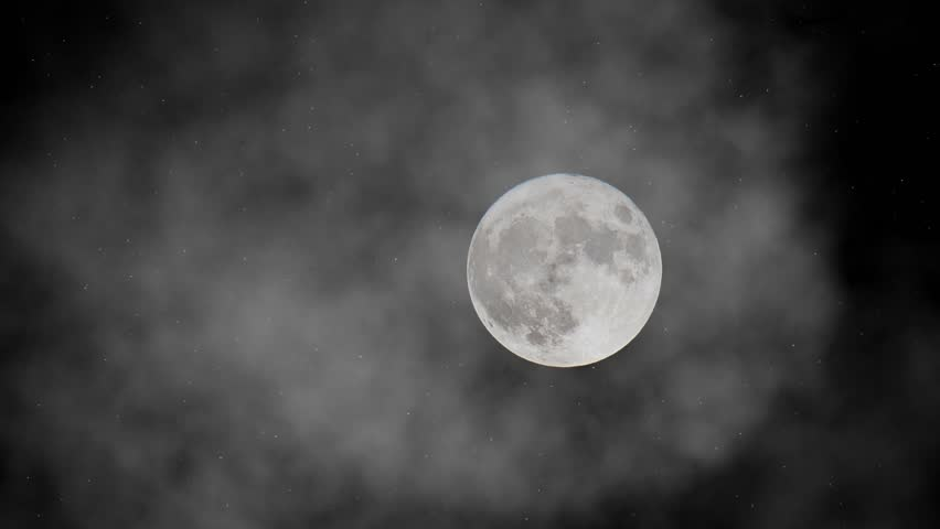 Animation of mystical full moon in the fog on the dark night sky with shining stars. | Shutterstock HD Video #1014993262