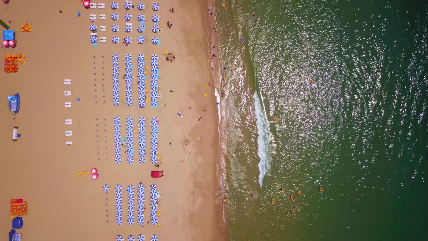 Aerial view of Haeundae beach in Busan city during summer season, South Korea.  | Shutterstock HD Video #1015026202