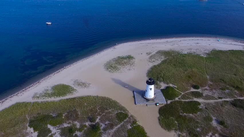Aerial shot of Edgartown Lighthouse, Martha's Vineyard, Massachusetts | Shutterstock HD Video #1015044352