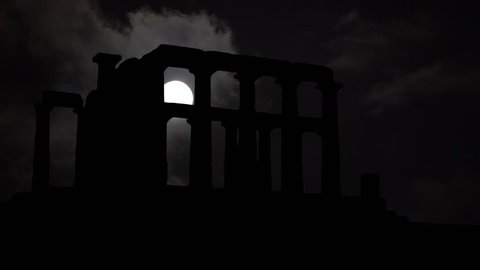 Greek Temple of Poseidon of Cape Sounion, Full Moon Timelapse