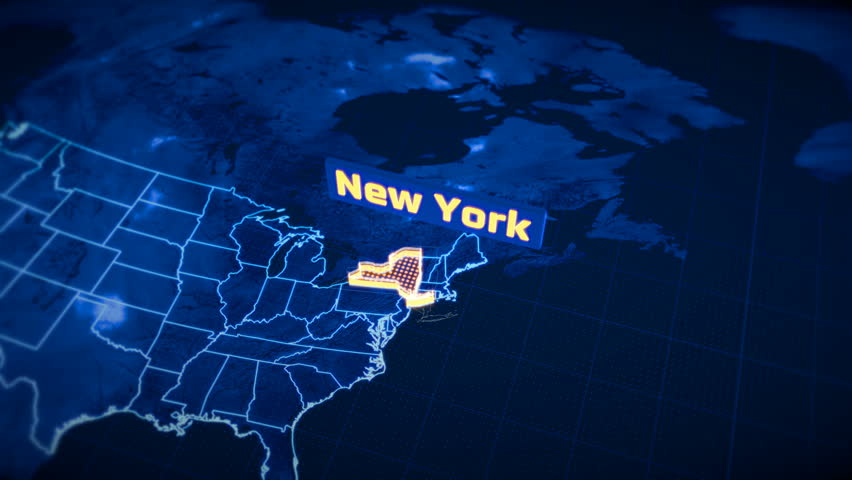 US New York state border 3D visualization, modern map outline, travel