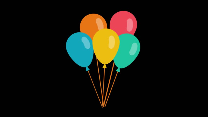 Party icons animation with black png background.Balloons icon animation with black png background.