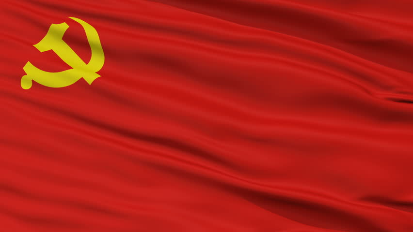 The Chinese Communist Party Flag, Closeup View Realistic Animation Seamless Loop - 10 Seconds Long