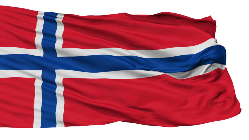 Norway Flag, Isolated View Realistic Animation Seamless Loop - 10 Seconds Long