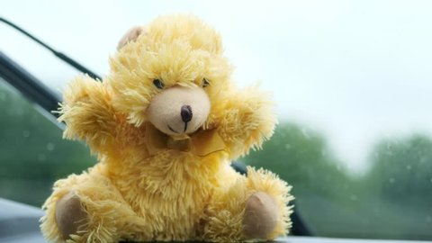 close-up, of a children's toy bear in front of a windshield. rain, work of car wipers, Windshield wipers from inside of car, Car wiper cleaning rain drop on glass