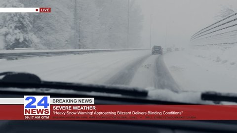 Breaking news about the extreme weather, POV of the car on a snowy highway.
