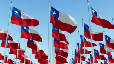 Many flags of Chile fluttering in the wind on flag poles in a row against blue sky. Three dimensional rendering 3D animation.
