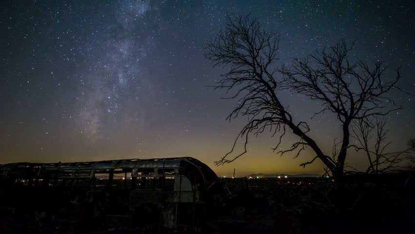 Milky Way, Mars and Stars with Dead Burnout Tree California Desert Timelapse