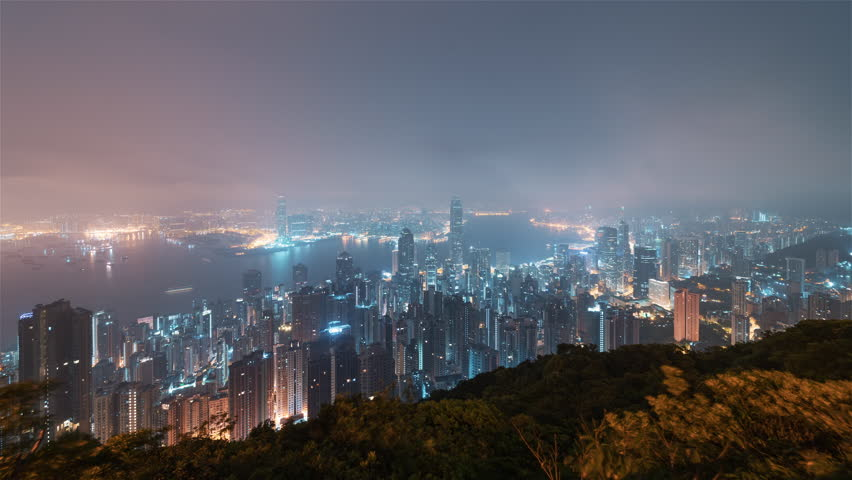Timelapse Sequence of Hong Kong, China - Downtown hill sunrise wide shot | Shutterstock HD Video #1015215382