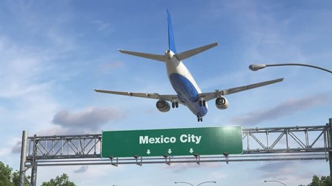 Airplane Landing Mexico City