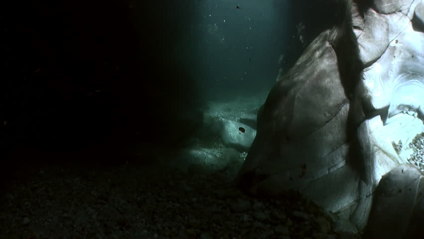 Underwater landscape of river Verzasca. on background of huge smooth stones. Picturesque nature and rocks in canton of Ticino are favorite place for underwater photographers. | Shutterstock HD Video #1015244212