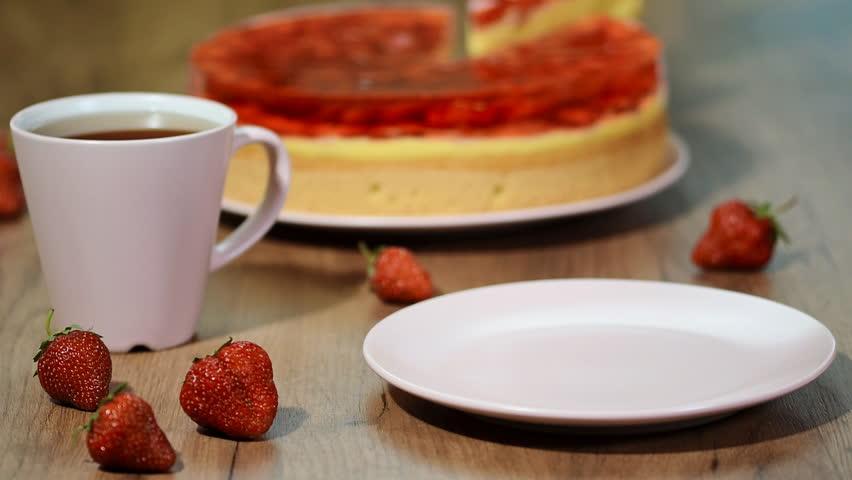 Piece of strawberry jelly Cake. | Shutterstock HD Video #1015246042