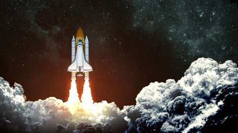 4K. Space Shuttle Launch On Background Of Night Sky. Slow Motion. 3D Animation.  Ultra High Definition. 3840x2160.