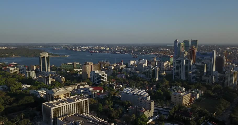 Aerial drone Dar Es Salaam skyline Cityscape, A Major City And Commercial Port On Tanzania Indian Ocean.