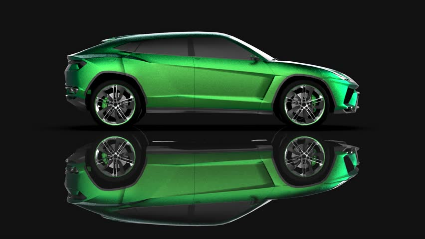 The newest sports all-wheel drive green premium crossover in a black studio with a reflective floor | Shutterstock HD Video #1015258942