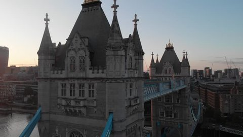The top of Tower Bridge sunset with london city CBD in the background.