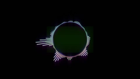 Round Multicolored Equalizer on a Black Background. 4K