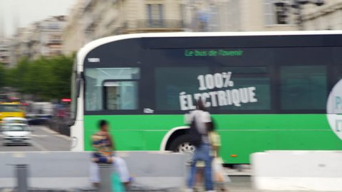 FRANCE - CIRCA JUNE 2017 - Electric passenger bus, environmentally friendly green energy, Marseille, France