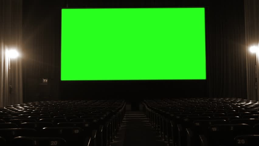 "Movie Theater with Green Screen. Sepia Tone. You can replace green screen with the footage or picture you want with ""Keying"" effect in AE  (check out tutorials on YouTube). 