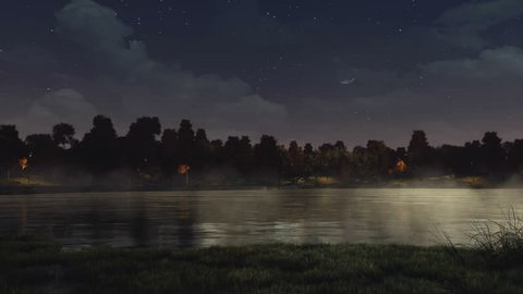 Trees silhouettes at the shore of calm lake or pond in a city park under dark night sky. With no people autumn season realistic 3D animation rendered in 4K