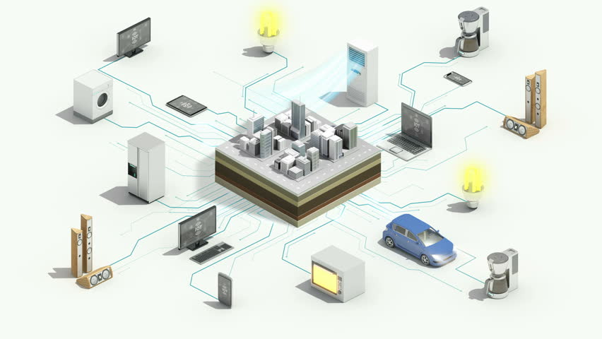 Smart city connecting Smart home appliances automation technology,  Internet of things, 4k animation. #1015324432