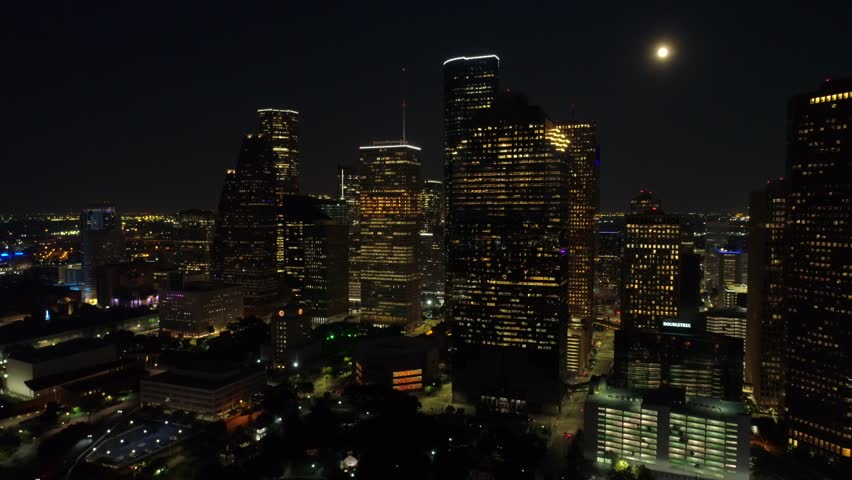 Night aerial footage Houston Texas