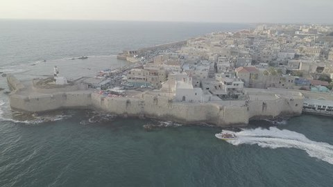Acre city, Israel, aerial drone footage 4k dlog ungraded flat
