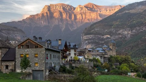 4k timelapse footage of Torla village at the sunset time, in Ordesa and Monte Perdido National Park, Spain.