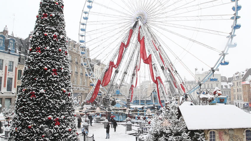 Cities of France : Lille, main square after snowfall