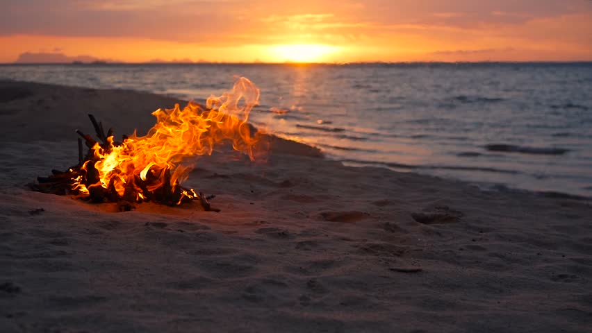Blazing campfire on the beach during summer evening. Bonfire in nature as background. Burning wood on white sand shore at sunset. selective focus. tropical romantic landscape near sea water edge.