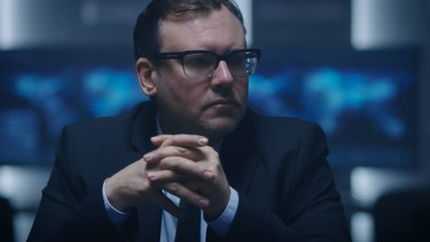 Chairman of the Board of Directors Gives Orders to His Subordinates on a Weekly Meeting. Politician Talks with His Advisors in the Situation Room. Shot on RED EPIC-W 8K Helium Cinema Camera.