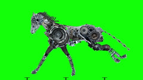 Metal horse is running. The robot is made of auto parts and represents the horsepower of the car. Character in the style of steampunk post-apocalypse. Green Screen