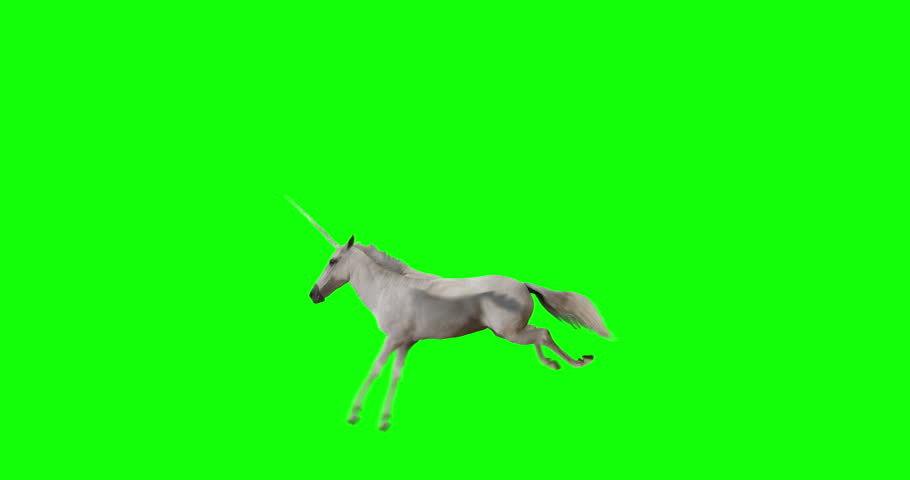 Pegasus and winged Unicorn flying on a transparent background. The first flying horse with horn, and the second without horn. Isolated and cyclic animation. Seamless loop. Green Screen