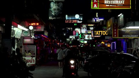 Pattaya, thailand - circa august 2018 : scenery of street and sign board at  soi 6 street