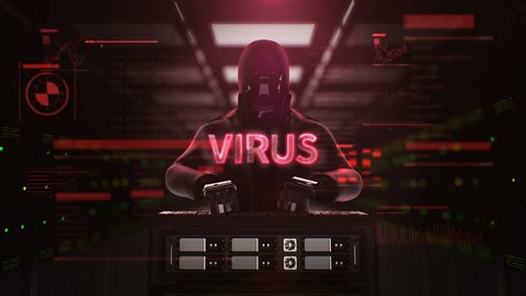 Robot, Cyborg Hacker working on a server computer with typo 'VIRUS' Security artificial intelligence, 4K animation.